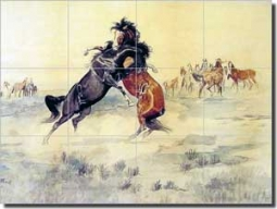 "Russell Western Horses Ceramic Tile Mural 17"" x 12.75"" - CMR004"