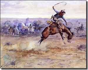 "Russell Western Cowboy Ceramic Accent Tile 10"" x 8"" - CMR005AT"