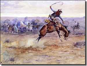 "Russell Western Cowboy Ceramic Accent Tile 8"" x 6"" - CMR005AT"