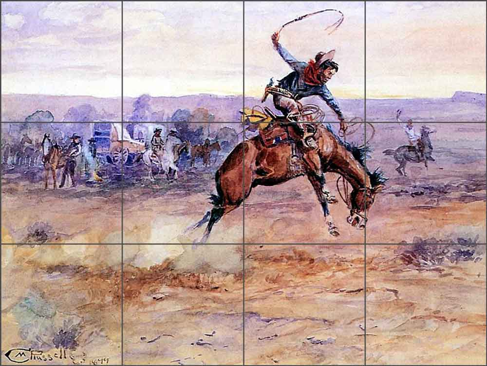 Bucking Bronco by Charles M. Russell Ceramic Tile Mural - CMR005