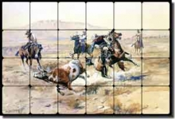 "Russell Western Cowboys Tumbled Marble Tile Mural 24"" x 16"" - CMR008"