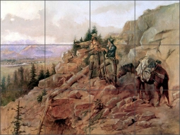Trouble on the Horizon by Charles M. Russell Ceramic Tile Mural - CMR009