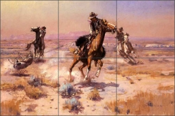 At Rope's End by Charles M. Russell Ceramic Tile Mural - CMR017