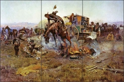 A Bronc to Breakfast by Charles M. Russell Ceramic Tile Mural - CMR022