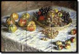 "Monet Apples Grapes Fruit Tumbled Marble Mural 18"" x 12"" - COM002"