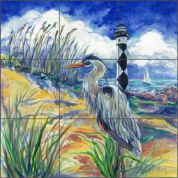 Blue Heron at Cape Lookout by Gloria Clifford Ceramic Tile Mural - CPA-GCA0213