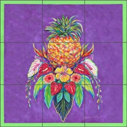Pineapple by Gloria Clifford Ceramic Tile Mural - CPA-GCB0112