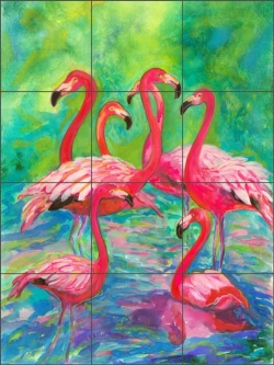 Flamingo Fancy 1 by Gloria Clifford Ceramic Tile Mural - CPA-GCEW411