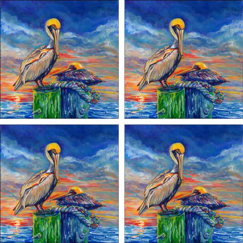 Pelicans at Sunset by Gloria Clifford Ceramic Accent & Decor Tile Set - CPA-GCJ0121AT