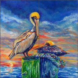 Pelicans at Sunset by Gloria Clifford Glass Tile Mural CPA-GCJ0121