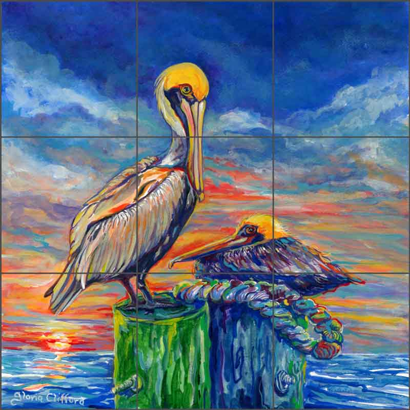 Pelicans at Sunset by Gloria Clifford Ceramic Tile Mural - CPA-GCJ0121