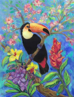 Toco Toucan with Orchids by Gloria Clifford Ceramic Accent & Decor Tile CPA-GCK0111AT