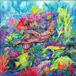 Tropical Reef Loggerhead Turtle by Gloria Clifford Ceramic Accent & Decor Tile - CPA-GCK0112AT