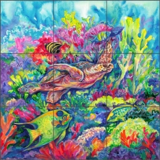 Tropical Reef Loggerhead Turtle by Gloria Clifford Ceramic Tile Mural - CPA-GCK0112