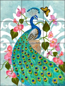 Classic Peacock by Leslie Whitman Ceramic Tile Mural - CPA-LW16009