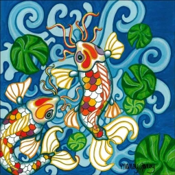 Koi 1 by Nancy Jacey Ceramic Accent & Decor Tile CPA-NJ11029-1AT