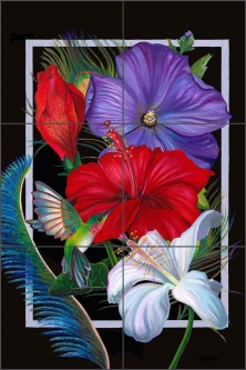 Sweet Nectar - vertical by Nancy Jacey Ceramic Tile Mural CPA-NJ14048