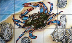 Blue Crab by Nancy Jacey Ceramic Tile Mural CPA-NJ15060