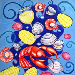 Clam Bake by Nancy Jacey Ceramic Accent & Decor Tile - CPA-NJ17069AT