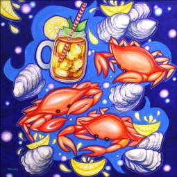 Crab Pickin with Tea by Nancy Jacey Ceramic Accent & Decor Tile - CPA-NJ17070-2AT