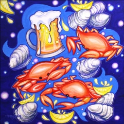 Crab Pickin with Beer by Nancy Jacey Ceramic Accent & Decor Tile - CPA-NJ17070AT