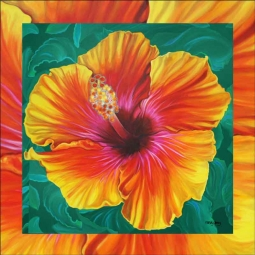Hibiscus by Nancy Jacey Ceramic Accent & Decor Tile - CPA-NJ17071AT