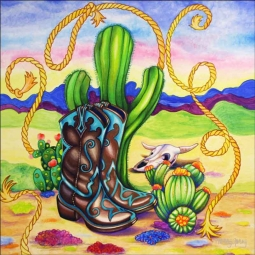 Cactus and Boots by Nancy Jacey Ceramic Accent & Decor Tile - CPA-NJ17072AT