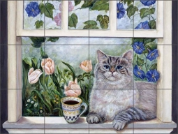 Sir Cafe Grande by Carolyn Paterson Ceramic Tile Mural - CPA001