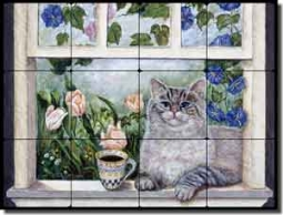 "Paterson Coffee Cat Tumbled Marble Tile Mural 16"" x 12"" - CPA001"