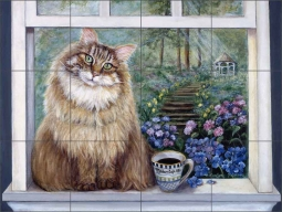 Madam Cafe Ole by Carolyn Paterson Ceramic Tile Mural - CPA002