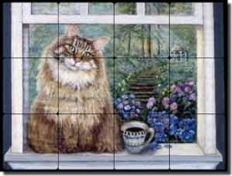 "Paterson Coffee Cat Tumbled Marble Tile Mural 16"" x 12"" - CPA002"