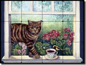 "Paterson Coffee Cat Tumbled Marble Tile Mural 16"" x 12"" - CPA006"