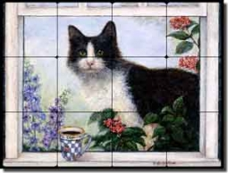 "Paterson Coffee Cat Tumbled Marble Tile Mural 16"" x 12"" - CPA007"