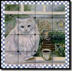 "Paterson Coffee Cat Tumbled Marble Tile Mural 16"" x 16"" - CPA008"