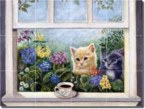 "Paterson Coffee Cat Kittens Glass Tile Mural 24"" x 18"" - CPA010"