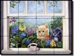 "Paterson Coffee Cat Kittens Tumbled Marble Tile Mural 16"" x 12"" - CPA010"