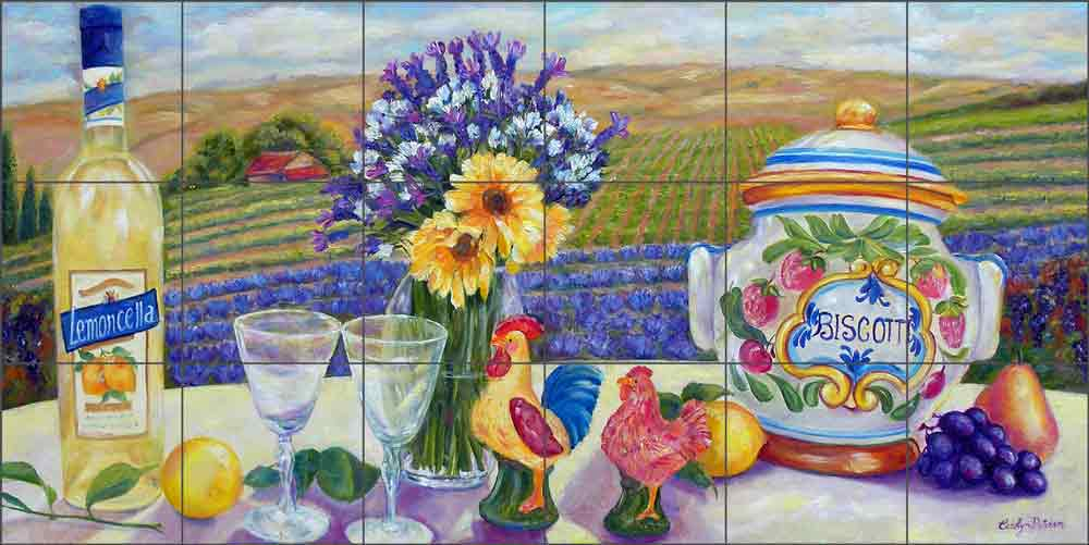 Lemoncello and Biscotti by Carolyn Paterson Ceramic Tile Mural CPA014