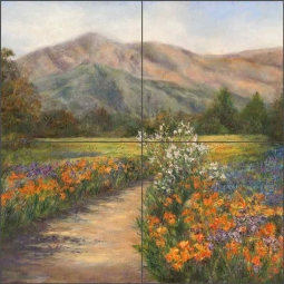 Path to Spring by Carolyn Paterson Ceramic Tile Mural CPA016