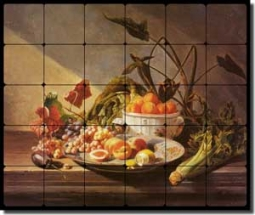"de Noter Fruit Vegetable Tumbled Marble Tile Mural 24"" x 20"" - DEJN002"