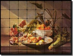 "de Noter Fruit Vegetable Tumbled Marble Tile Mural 32"" x 24"" - DEJN002"