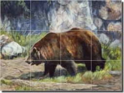 "Hughbanks Bear Animal Glass Tile Mural 24"" x 18"" - DHA002"