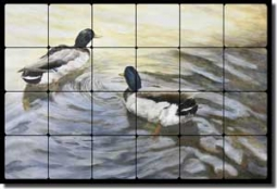 "Hughbanks Ducks Birds Tumbled Marble Tile Mural 24"" x 16"" - DHA003"