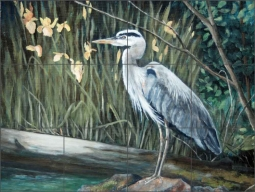 Heron Blues by Debbie Hughbanks Ceramic Tile Mural - DHA004