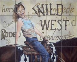 Wild West by Debbie Hughbanks Ceramic Tile Mural - DHA014