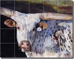 "Hughbanks Steer Animal Ceramic Tile Mural 21.25"" x 17"" - DHA016"