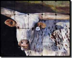 "Hughbanks Steer Animal Tumbled Marble Tile Mural 20"" x 16"" - DHA016"