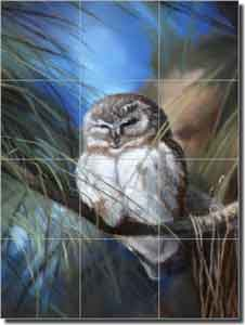 "Hughbanks Owl Bird Ceramic Tile Mural 12.75"" x 17"" - DHA030"