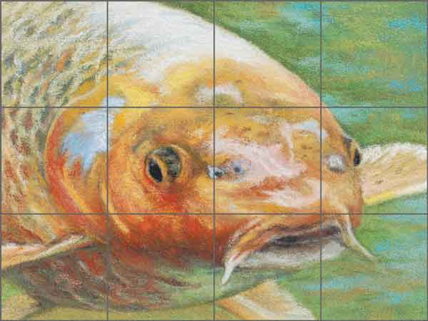 Koi by Debbie Hughbanks Ceramic Tile Mural DHA046