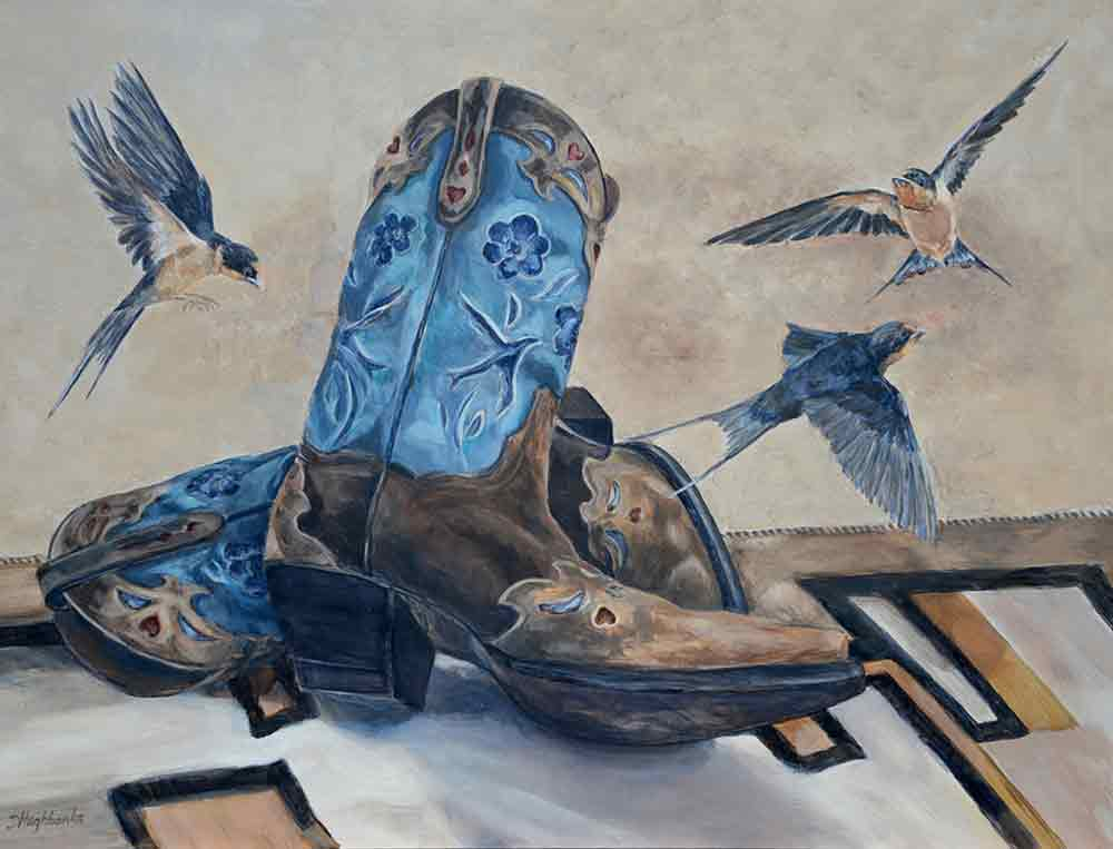 Boots and Birds by Debbie Hughbanks Accent & Decor Tile DHA052AT