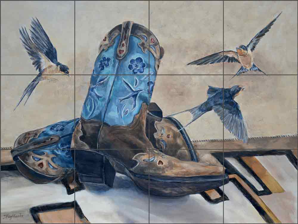 Boots and Birds by Debbie Hughbanks Ceramic Tile Mural - DHA052